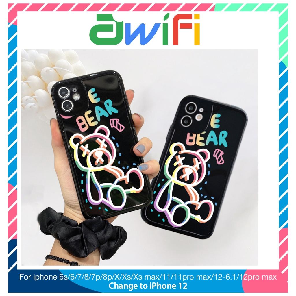 Ốp lưng iphone viền nổi gấu cầu vồng 5s/6/6plus/6s/6splus/7/7plus/8/8plus/x/xr/xs/11/12/pro/max/plus/promax - Awifi E2-5