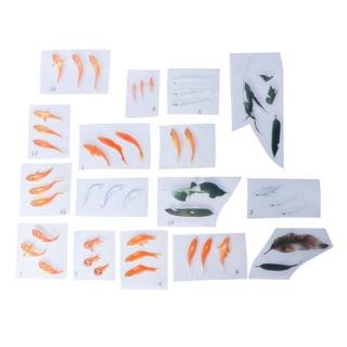 Set 13 tấm stickers cá và lá, bèo