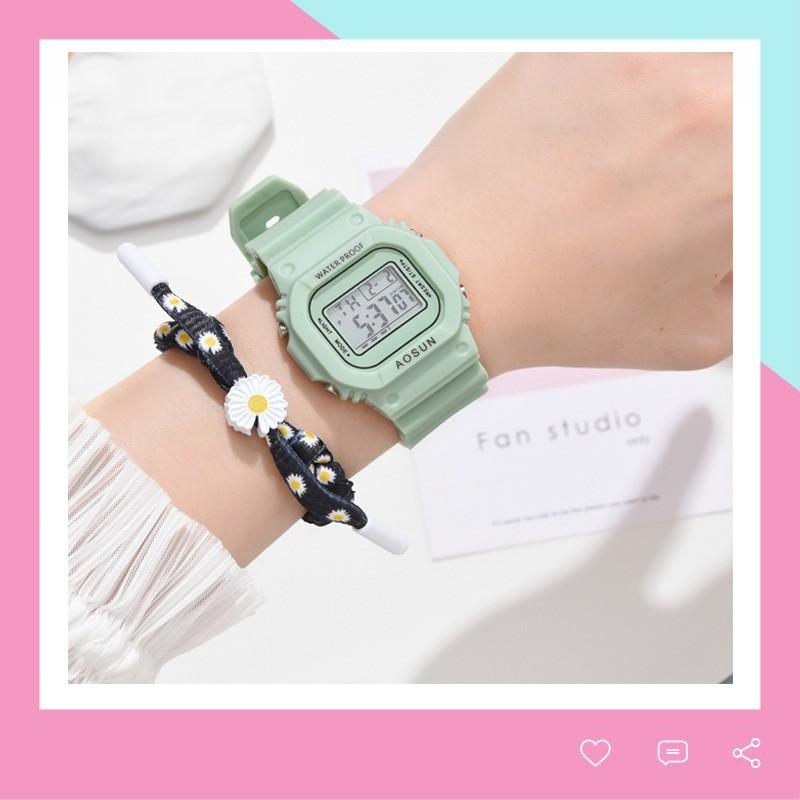 Đồng hồ điện tử nam nữ Aosun dây hoạ tiết hoa cúc cực xinh DH106