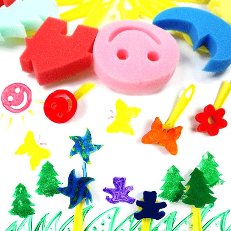 CP☆ 24Pcs diy toy home learning toy sponge set children kids art craft painting