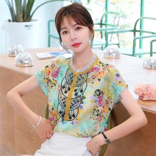 European station chiffon shirt female short-sleeved summer 2020 new foreign style retro printed shirt fashion short coat