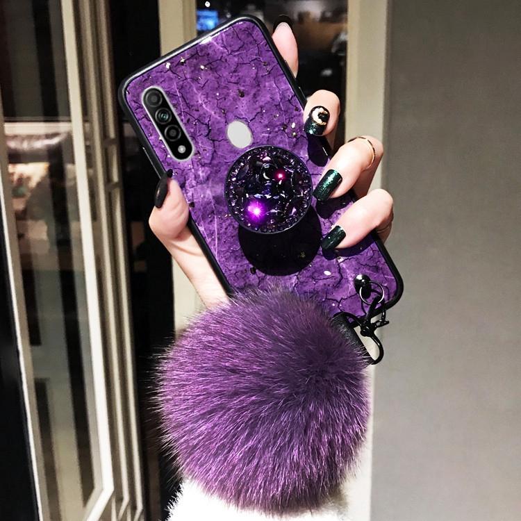 Ốp điện thoại họa tiết đá hoa cương có giá đỡ đính đá sang trọng và dây đeo cục bông cho Oppo A31