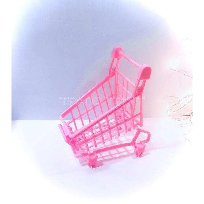 Mô hình xe đẩy siêu thị mini phụ kiện trang trí nhà búp bê toper bánh kem
