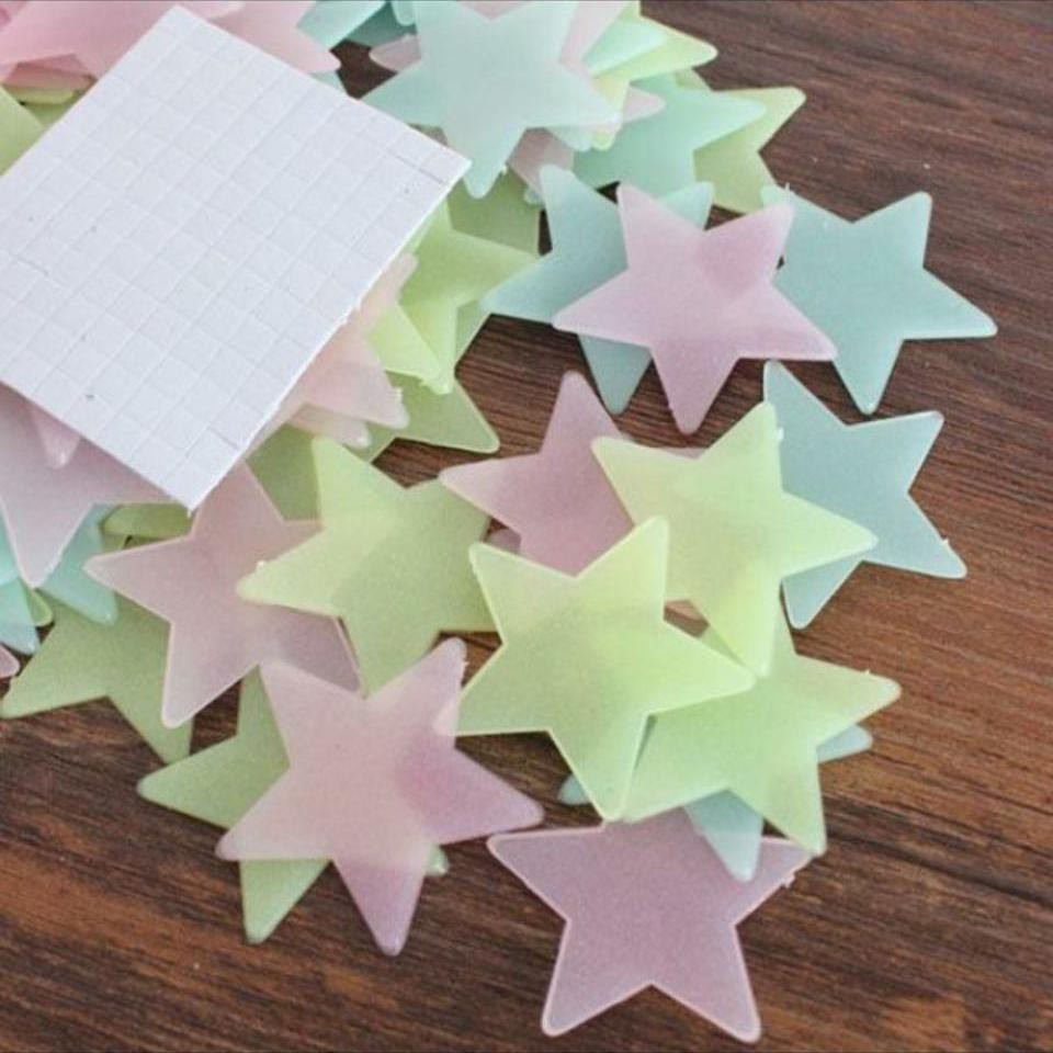Gói 70 ngôi sao dán tường dạ quang 3cm sao phát sáng