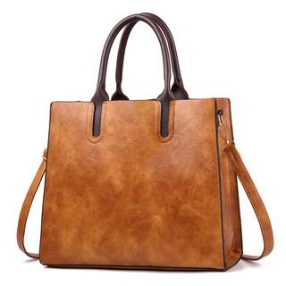 Túi xách tay đeo chéo nữ dáng đứng 32x28x12cm (Đỏ-Đen-Da bò-Xám-Xanh)