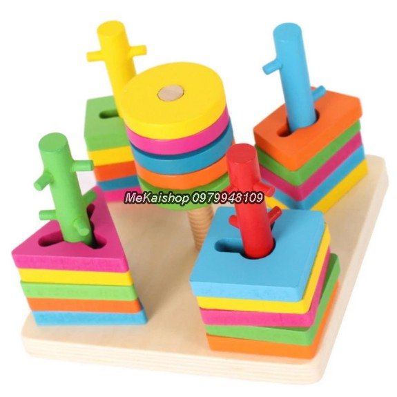 Đồ chơi gỗ - Bộ thả hình 5 cột khối loại đẹp