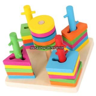 Đồ chơi gỗ – Bộ thả hình 5 cột khối loại đẹp