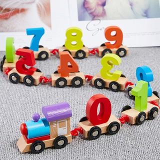 swank Kid wooden digital train 0-9 figures railway model jigsaw puzzle educational toy brilliant