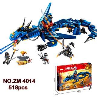 Bộ Lego Xếp Hình Ninjago Siêu Rồng Xanh. Gồm 518 Chi Tiết. Lego Ninjago Lắp Ráp Đồ Chơi Cho Bé