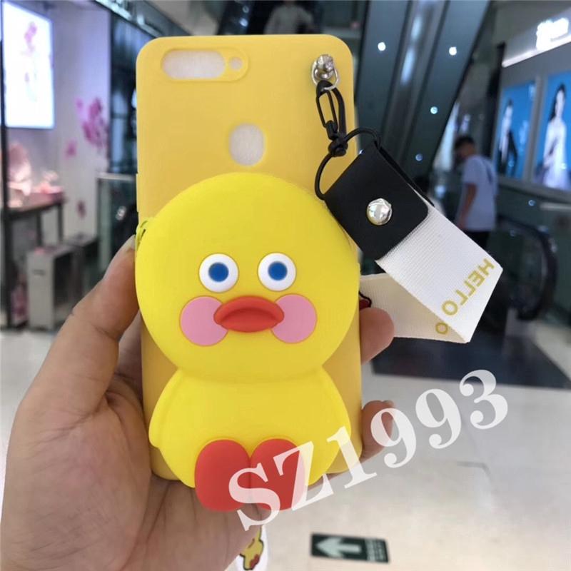 Cartoon  Blush Duck Wallet Soft Silicone Phone Case OPPO F11 F11pro A7 A3s F9 F5 F1s A57 A3 A83 A71
