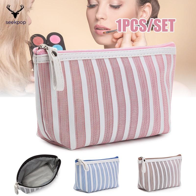 Túi đựng mỹ phẩm trang điểm in họa tiết kẻ sọc chất lượng cao