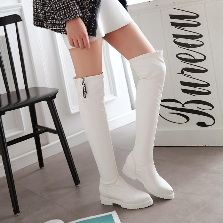 【จัดส่งฟรี】นาวชี้ยืดรองเท้าเข่าแบนด้านล่างผู้หญิงเพิ่มสูงและต่ำที่มีขนาดใหญ่ 4243