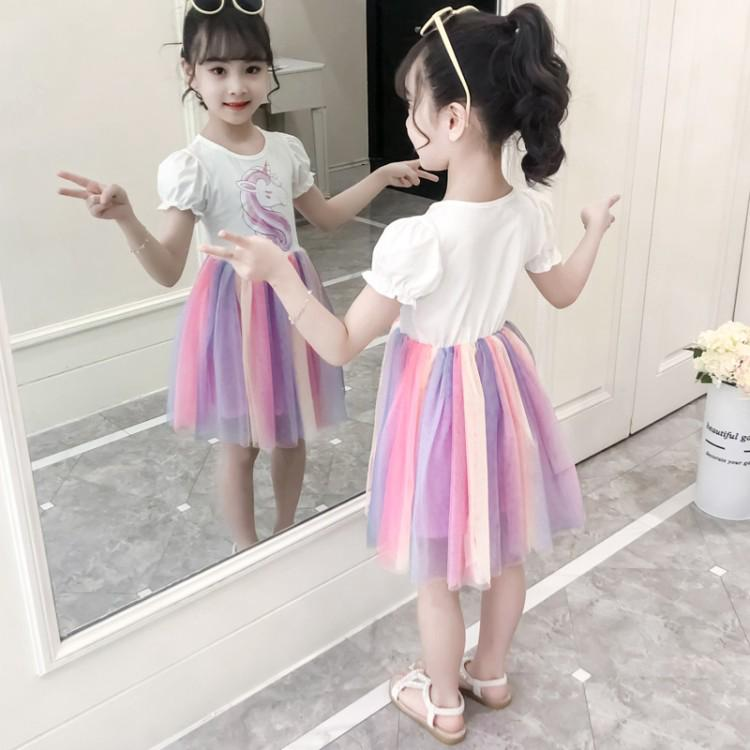 Rainbow unicorn pattern dress for girls