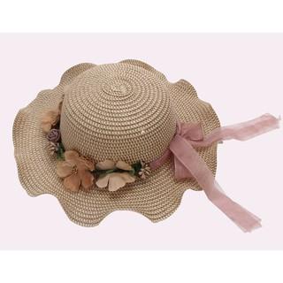 Mũ cói viền hoa VEMZKIDS cho bé gái