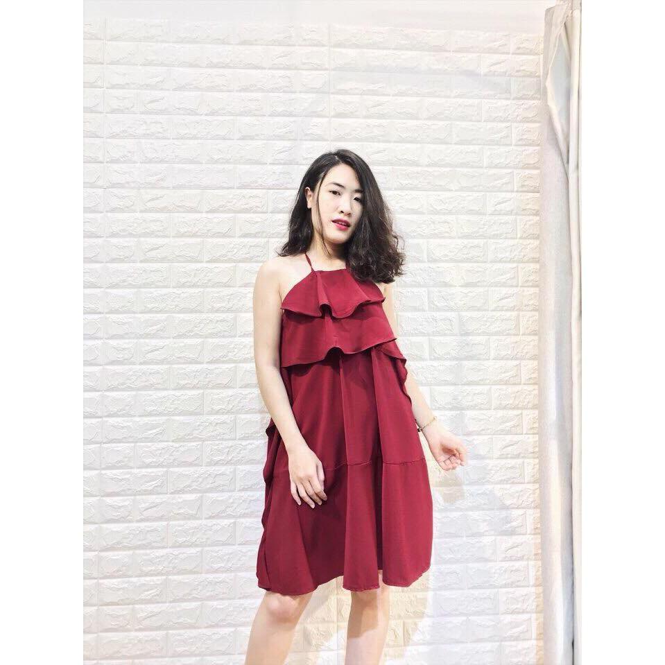 Đầm Suông Cổ Yếm Tầng Bèo Đủ Màu