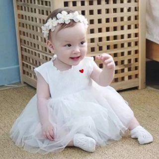 Váy xòe sát nách kèm băng đô hoa cho bé sơ sinh