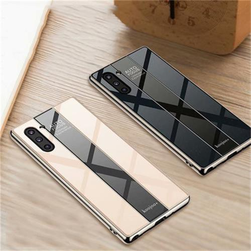Samsung Galaxy Note 10 Plus Shockproof Tempered Glass Back Soft Silicone Edge Luxury Case Cover