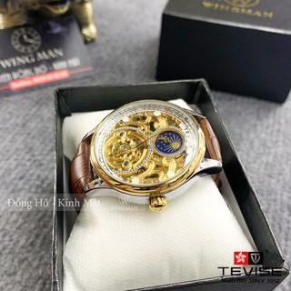Đồng hồ cơ nam dây da cao cấp Tevise T820A-2 full box, mặt kính sapphire chống xước, chống nước, bảo hành 03 năm