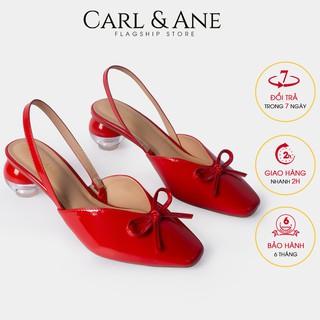 Carl & Ane - Giày cao gót mũi nhọn phối dây gót tròn cao 5cm màu đỏ _ CL002