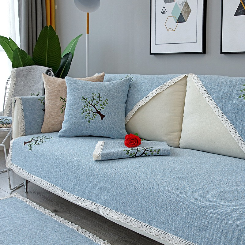 A piece of cross-border four seasons universal cotton and linen sofa cushion sofa cover dustproof can be customized