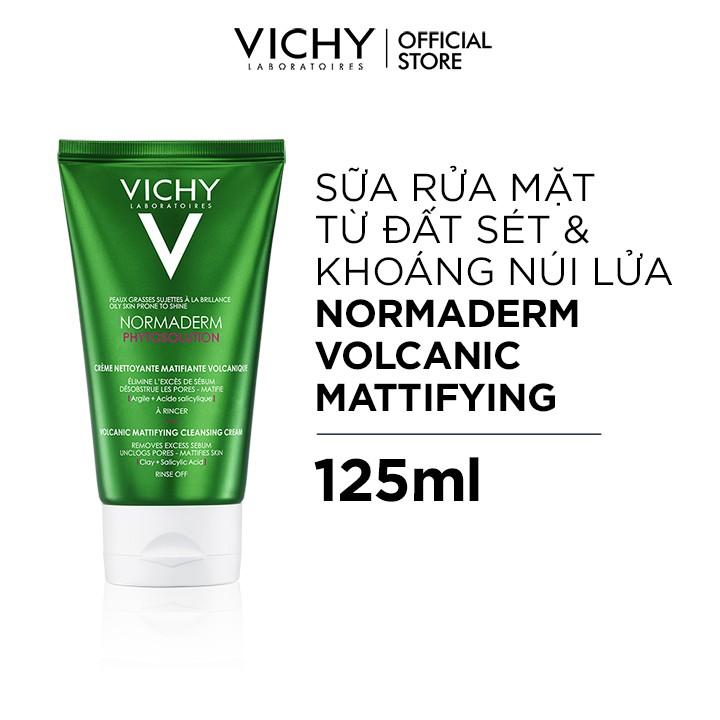 Sữa rửa mặt tạo bọt làm sạch sâu kiểm soát dầu Vichy Normaderm Phytosolution Volcanic Mattifying Cleansing Cream 125ml