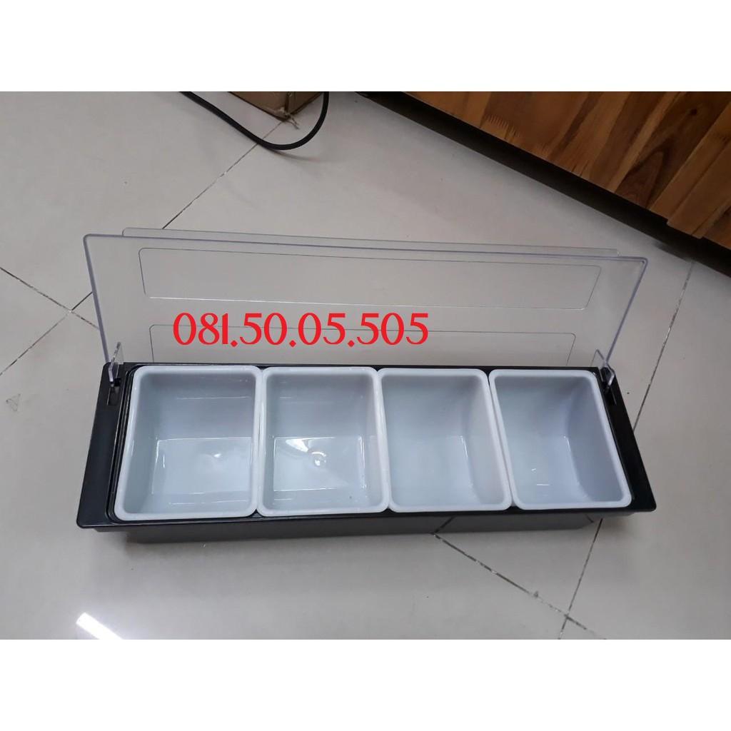 Khay đựng topping nhựa 3 4 5 6 ngăn có nắp đậy sạch sẽ