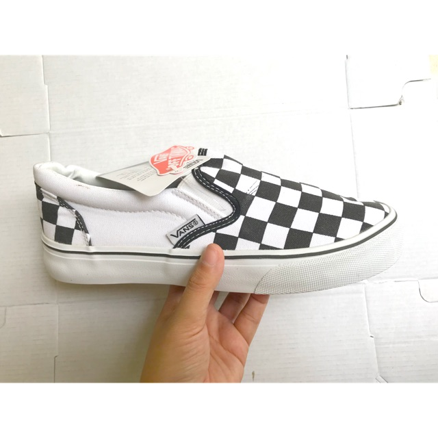 (Ảnh thật+fullbox) giầy van lười slipon caro đen trắng giá rẻ