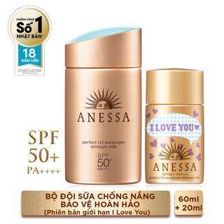 Hình ảnh Bộ đôi chống nắng bảo vệ hoàn hảo Anessa Perfect UV Sunscreen Skincare Milk (60ml + 20ml)_95563E-1