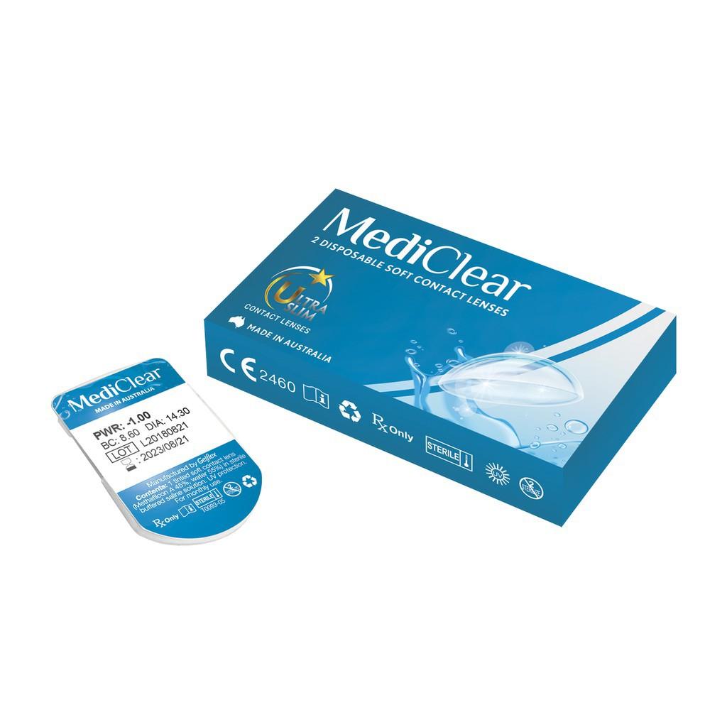 COMBO Cặp Kính Áp Tròng Trong Suốt Mediclear 6 Tháng + Nước Ngâm Áp Tròng