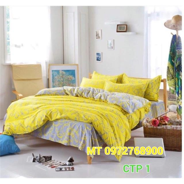 Sale kịch sàn mẫu chăn phao poly cotton màu vàng hàng có sẵn chất lượng uy tín giá rẻ vận chuyển nha