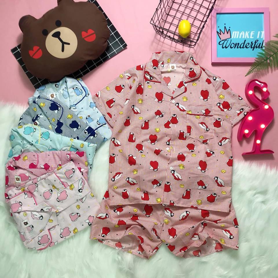 Bộ ngủ Pijama Cánh cụt sọc có viền dưới 65kg