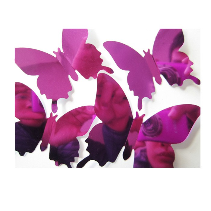 12 3D stereo mirror butterfly wall stickers - purple