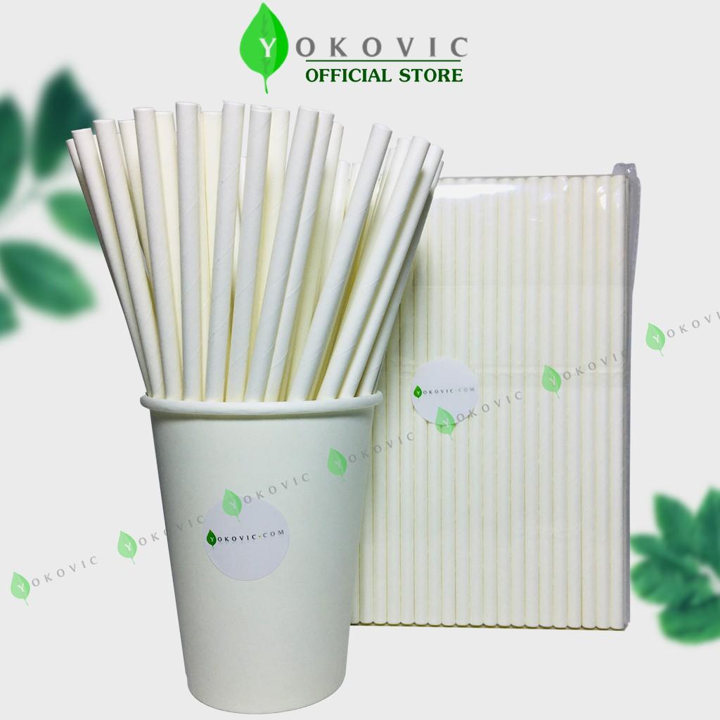 Ống Hút Giấy Phi 6 [100 ống] Màu Trắng Yokovic - Ống hút giấy bảo vệ môi trường YKV0001.