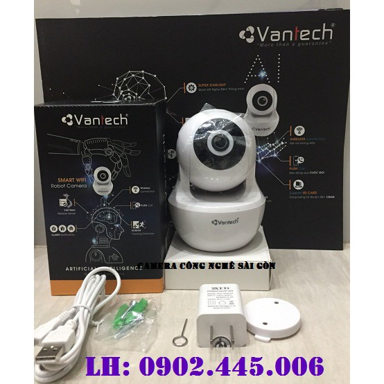 Camera wifi robot Vantech V2010 2.0MEGAPIXEL+ THẺ 32GB
