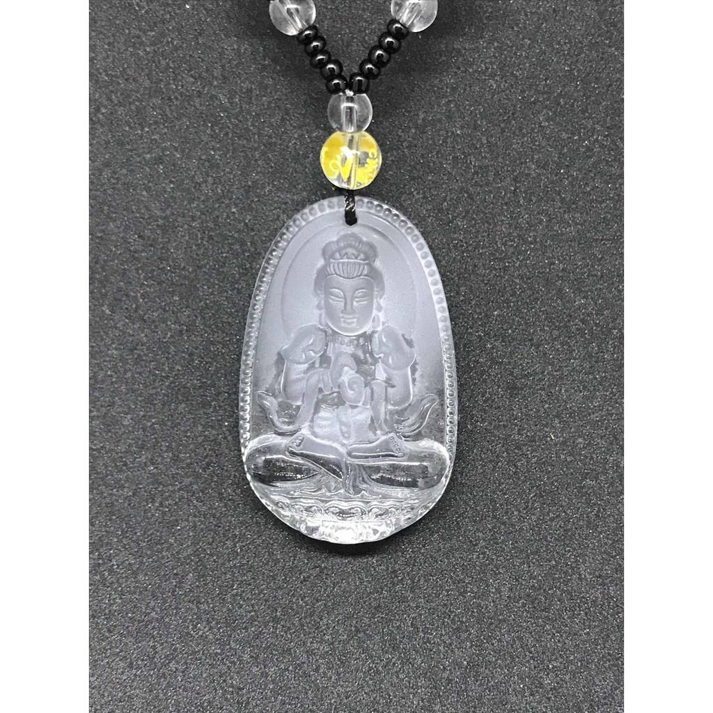 Dây chuyền Phật Như Lai đại nhật đá lưu ly trắng Độ Mệnh Tuổi Mùi Thân