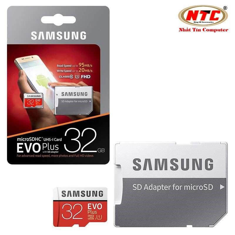 [Freeship đơn từ 50k] Thẻ nhớ MicroSDHC Samsung Evo Plus 32GB UHS-I U1 95MB/s kèm adapter box Anh