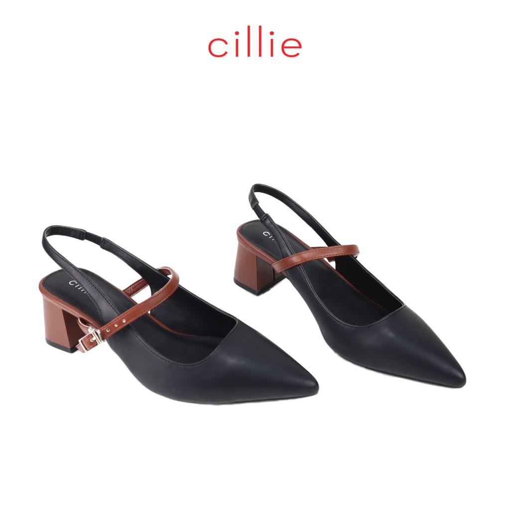Giày sandal nữ Cillie mũi nhọn phối màu gót 5cm 1172