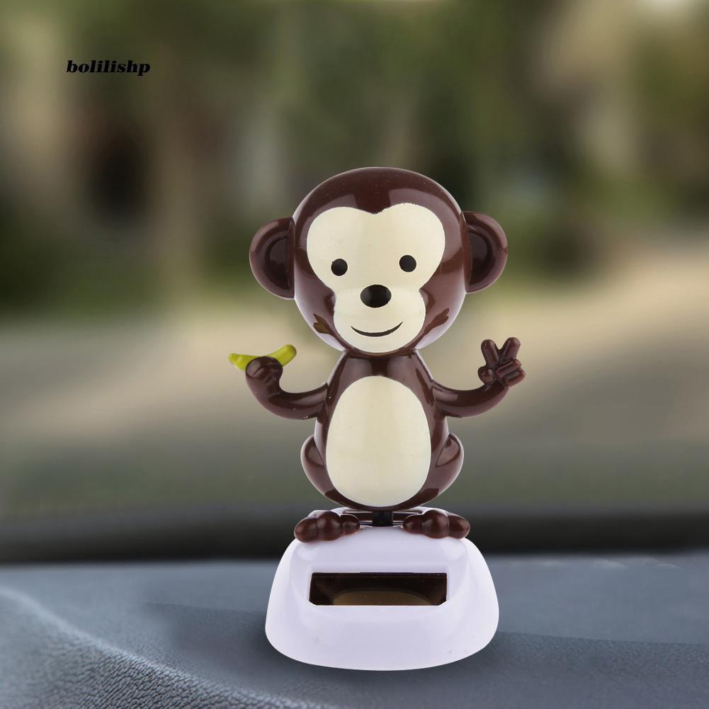 BLLP_Cute Swinging Cartoon Monkey Solar Power Car Interior Dashboard Ornament Decor