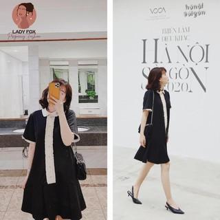 Váy bầu công sở 🎀Đầm bầu thiết kế đuôi cá bèo trước – màu đen cổ sen – phù hợp đi chơi, đi làm