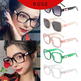 ROSE Fashion Anti-Blue Light Glasses Computer Eye Protection Flowers Eyeglasses Women Portable Oversized Square Vintage Ultra Light Frame