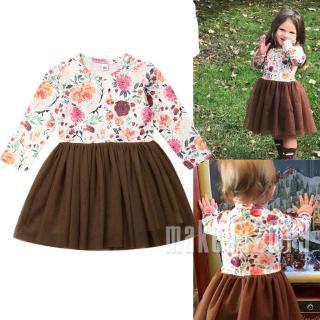 Mu♫-1-6Y Toddler Kid Baby Girl Clothes Princess Tutu Dress Skirt Child Autumn Outfit