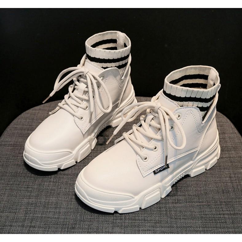 Giày bốt nữ FennnnĐiii - giày nữ boot nữ chelsea boot boots nữ cao gót màu đen da phối vải len mv-451