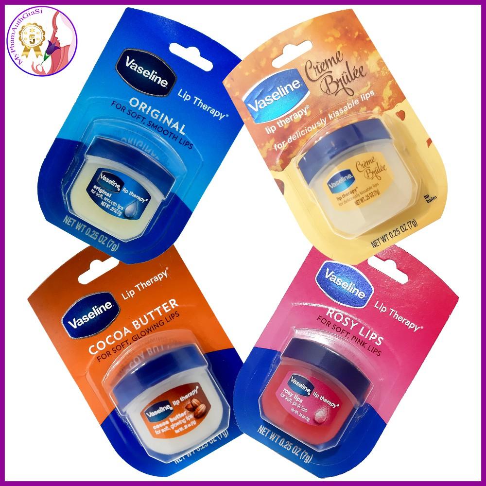 [Mã 66FMCGSALE hoàn 8% xu đơn 500K] Son dưỡng môi vaseline hương ca cao - original - vani - rosy lips 7g usa