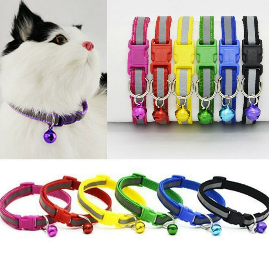 Adjustable Glossy Reflective Collar Bell Strap Pet Dog Cat Safety Buckle Blue