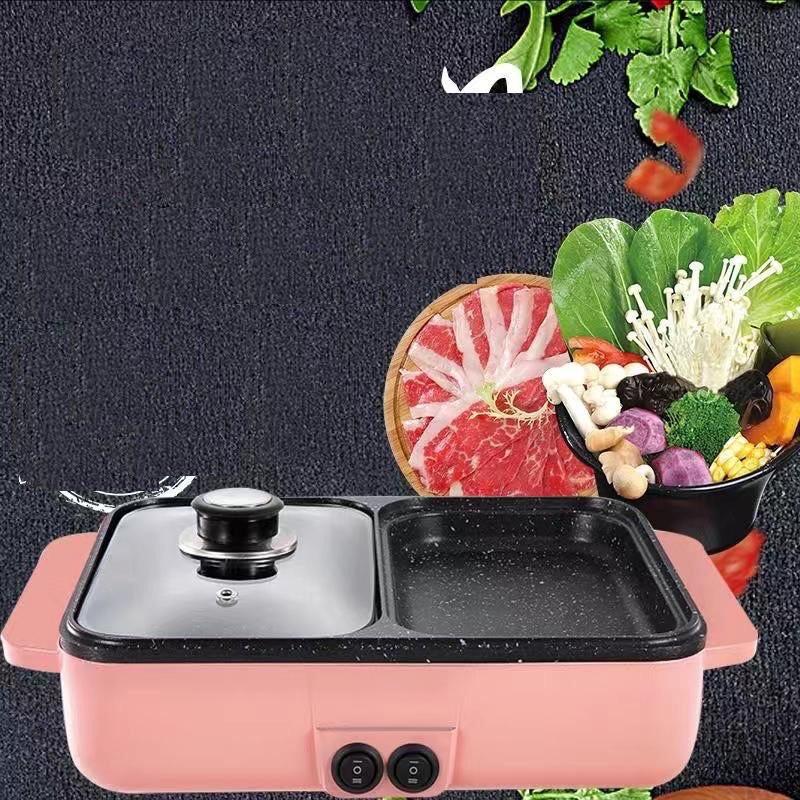 Bếp nướng lẩu 2 ngăn Hàn Quốc🥘 - Bếp Điện Đa Năng -Nồi Đôi Mini Nướng và Lẩu 2 in1