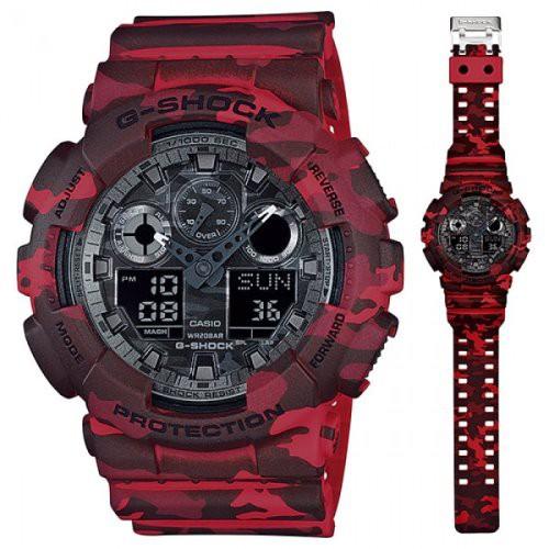 Đồng hồ nam Casio Gsock GA-100CM-4ADR Chính hãng - Màu đỏ vằn - Chống nước 200m
