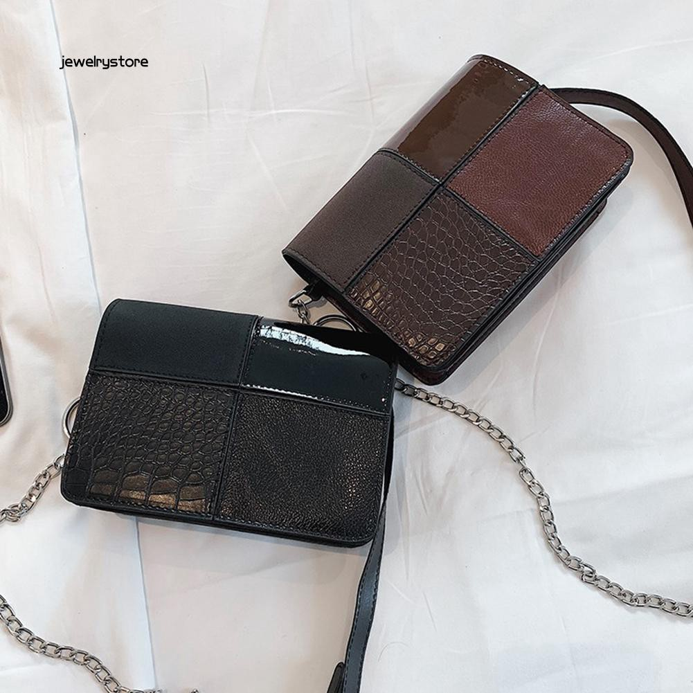 【JEW】Lady Crocodile Embossed Patchwork Chain Flap Crossbody Shoulder Small Square Bag