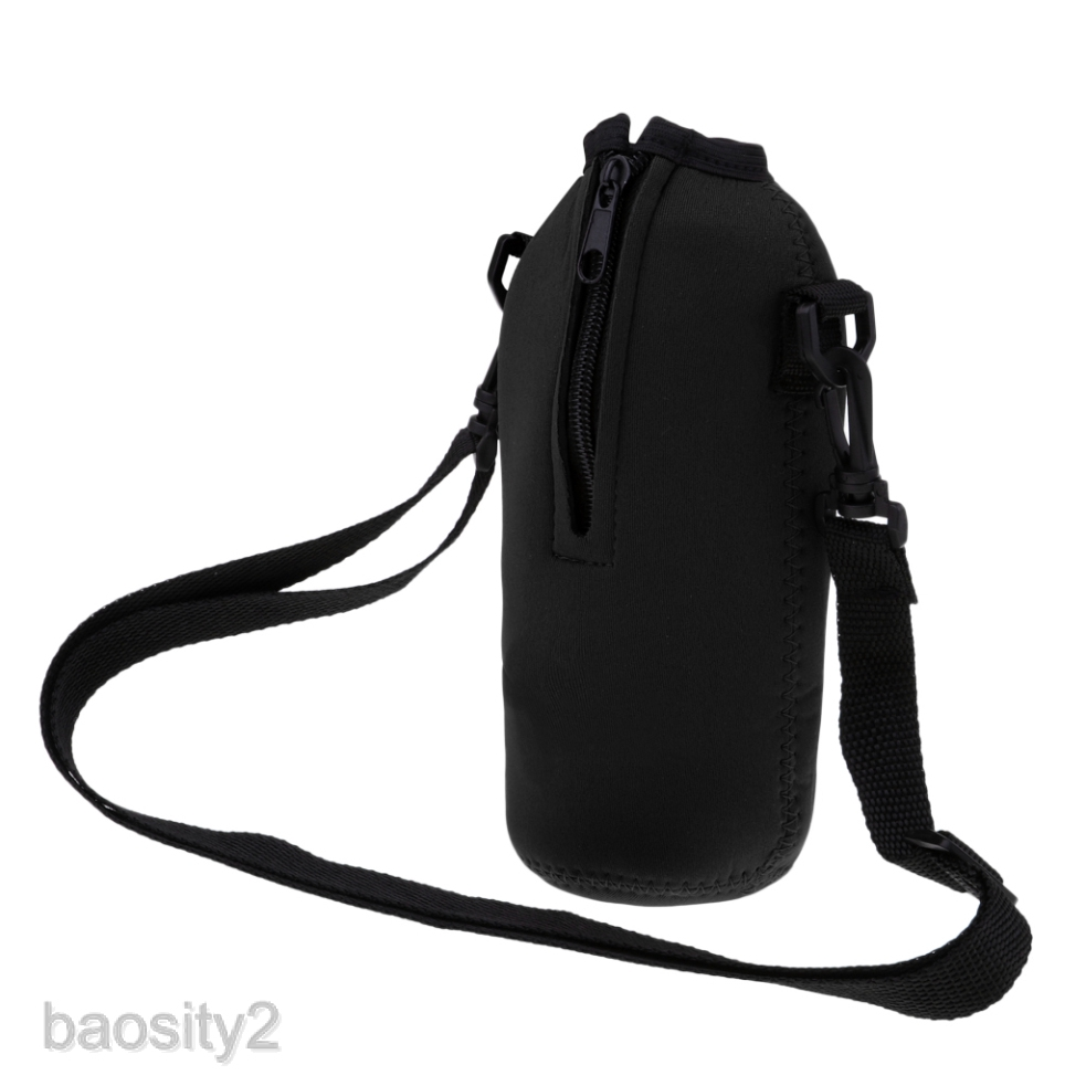 Water Bottle Carrier, Neoprene Bottle Holder with Adjustable Shoulder Strap Sling Insulated Sports Sleeve Bag for 750ml