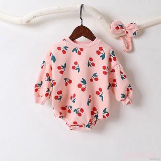 Áo liền quần tay dài in hình quả cherry và băng đô quấn đầu cho bé gái sơ sinh