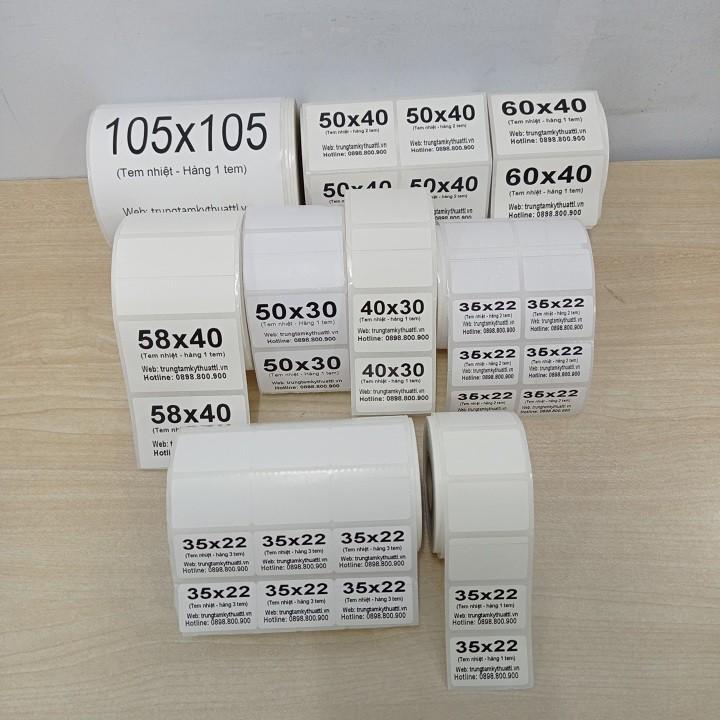 Tem mã vạch in nhiệt không cần dùng mực, giấy nhãn decal thông tin dán lên sản phẩm với nhiều kích thước